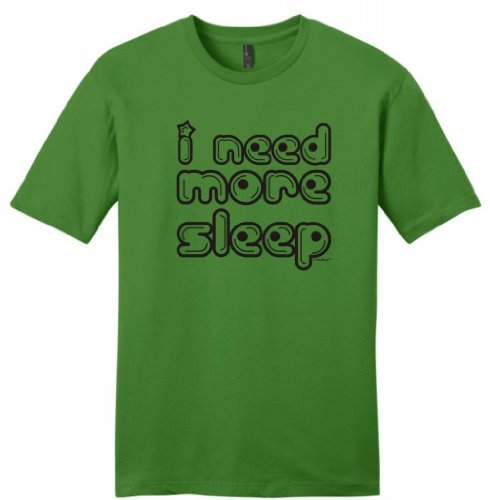 I Need More Sleep Young Mens T-Shirt Medium Kiwi Green