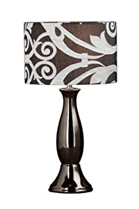 Premier Housewares Gold Ceramic Glamour Table Lamp with Gold Fabric Shade_Parent