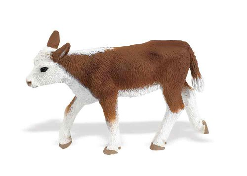 Safari Ltd Safari Farm Collection - Hereford Calf - Realistic Hand Painted Toy Figurine Model - Quality Construction from Safe and BPA Free Materials - For Ages 3 and Up