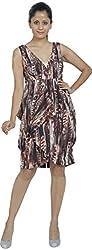 W M Couture Women's V Neck Dress (Y9A3821_M, Brown, M)