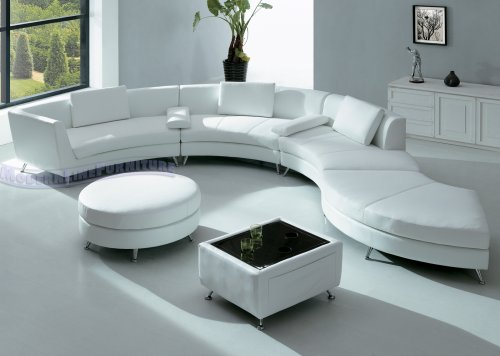 modern furniture white leather sectional sofa with ottoman and mini bar table set. Black Bedroom Furniture Sets. Home Design Ideas