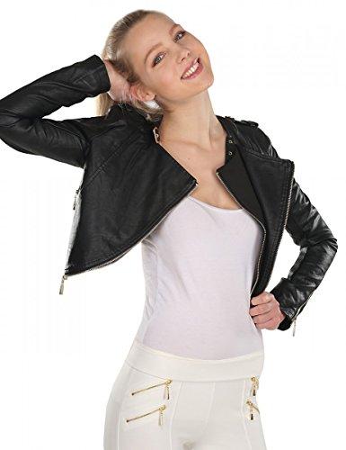 Balingi faux leather biker jacket cropped for women BA10595, Größe:L;Farbe:Black
