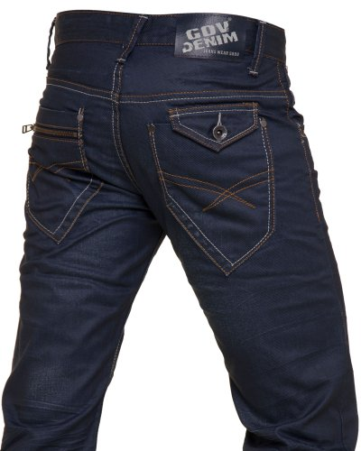 Gov denim - Man blue jeans and faded oiled effect fashion - Color: Blue Size: Fr 36 US 29