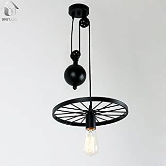 Unitary Brand Black Vintage One Metal Wheel Hanging Ceiling Pulley Pendant Light With 1