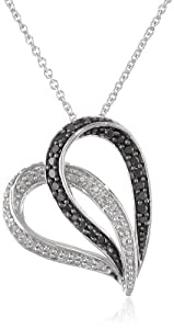 Sterling Silver Black and White Diamond Slider Heart Pendant Necklace (1/4 cttw) 18