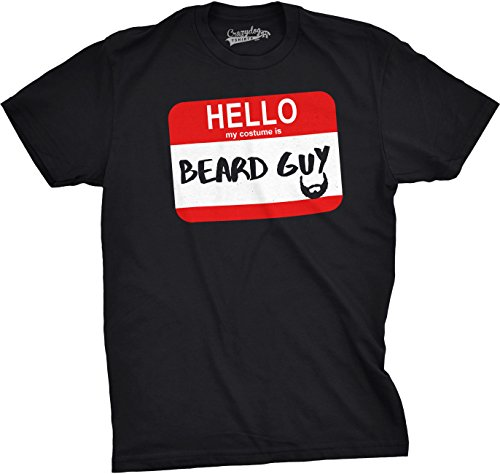 [Mens Hello My Costume Is Beard Guy Funny Halloween Name Tag T shirt (Black) -XL] (Nerd Halloween Costumes Guy)