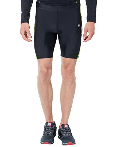 Ultrasport Men's Compression Effect and Quick-Dry-Function Running Tight Pants - Black/Neon Yellow, 2X-Large