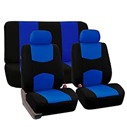 FH GROUP FH-FB050112 Flat Cloth Car Seat Covers Blue / Black Color