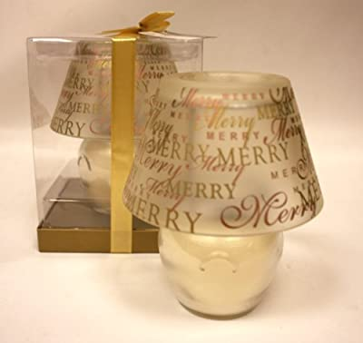 Gorgeous Merry Christmas Lamp Shade Scented Candle Gold Vanilla Scent 6