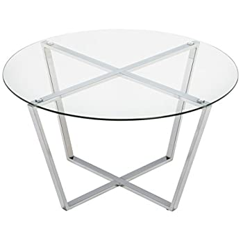 Mango Steam Metro Glass Coffee Table - Clear Glass/Chrome Base