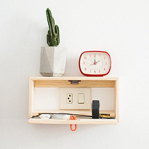 Floating wood minimal nightstand - Wall shelf with drawer - Scandinavian floating bedside table - Floating wooden box shelf