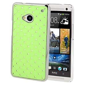 Luxury Bling Diamond Plating Skinning Case for HTC One / M7 (Green)