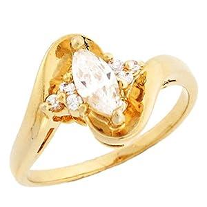 14k yellow gold unique marquise cz engagement