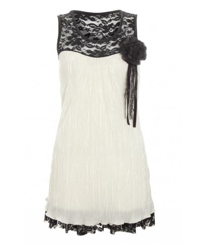 Cream and Black Contrast Crinkle effect Brooch Dress.M/L