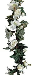 Darice 35572, Lilies and Roses Garland, 6-Foot, Cream White