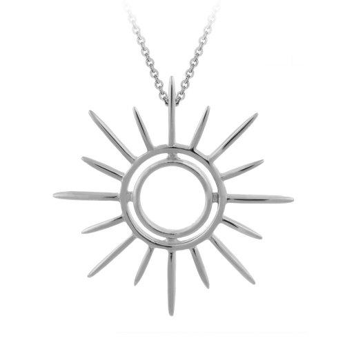 Sterling Silver Sunburst Pendant Necklace , 18