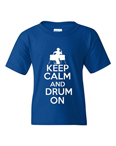 keep-calm-and-drum-on-musician-novelty-youth-kids-t-shirt-tee-medium-royal-blue