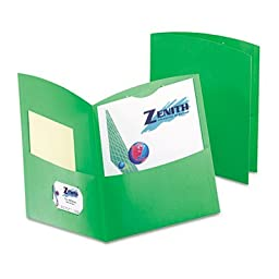 Contour Two-Pocket Recycled Paper Folder, 100-Sheet Capacity, Green, Sold as 25 Each