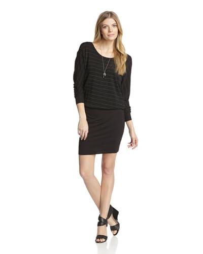 Bella Luxx Women's Metallic Stripe Blouson Sweater Dress