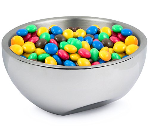 Estilo Stainless Steel Nut and Candy Dish, Dual Angle Double-wall Serving Bowl, 7.75 inches diameter