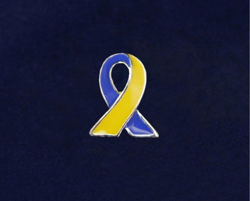 Blue and Yellow Ribbon Pin - Silver Trim Tac (50 Pins)