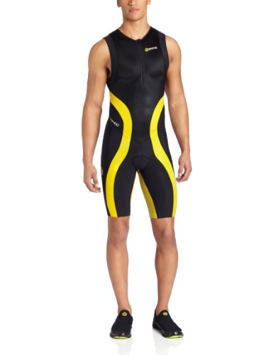 SKINS Tri400 Compression Men's Sleeveless Suit with Front Zip, Black/Yellow, XS