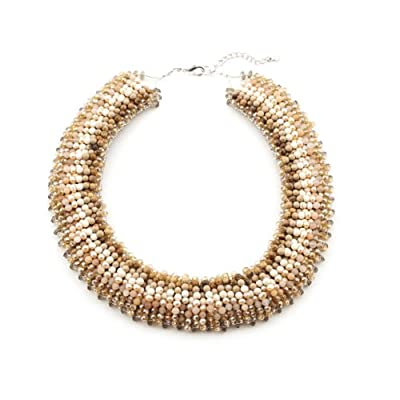 Gold Glass Beaded Collar