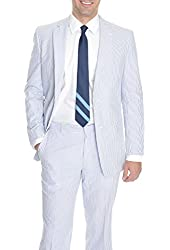 Kroon Blue And White Striped Seersucker Two Button Cotton Suit