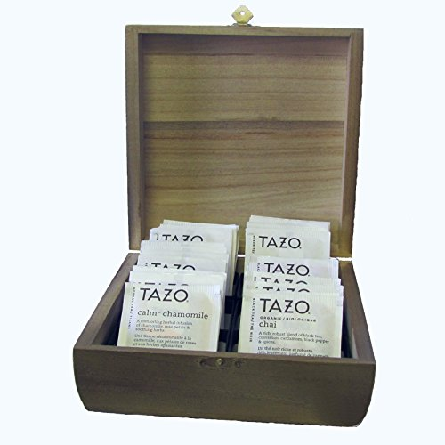 """Vintage Driftwood Style Tea Chest With 24 Tazo Teabags In 11 Flavors! Natural Paulownia Wood (Not Mdf!) And Six Compartments. Compact Shape Measures 7"""" X 7"""" X 2.75"""" Hand Distressed Finish In The Usa"""