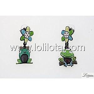 Boucles d oreilles Lolilota Grenouille Couple Vert