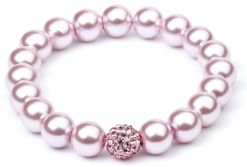 Swarovski Elements Powder Pink Crystal Pearl with 1 x Shamballa Crystal Bead Elastic Bracelet CHILD SIZE - CBR004