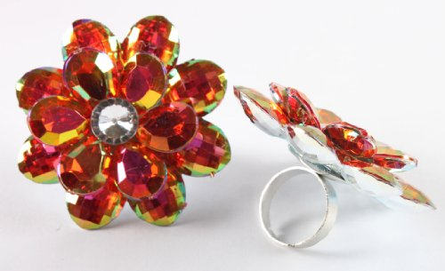 Ladies Red Double Flower Metal Adjustable Finger Ring with Multicolor Shine