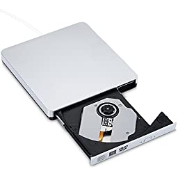 Habor CD/DVD-RW Burner Writer External Hard Drive with USB2.0 Cable - Silver