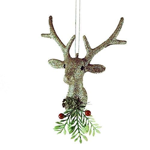 1 +++ Creative Co-op Silver Deer Head Christmas Ornament - 5