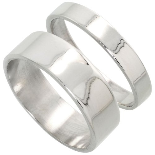 Sterling Silver Flat Wedding Band Ring Set His and Hers 4 mm + 7 mm , size 4.5