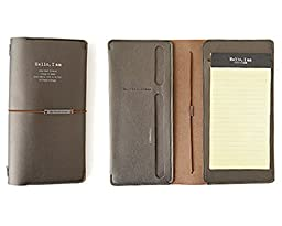 Synthetic Leather Padfolio and Writing Pad, Mini Writing Portfolio Includes Elastic Band, Notepad, Card Slots, and Extra Pocket, Pad Holder, 4.7\
