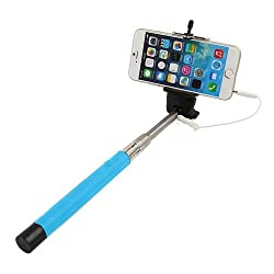 Casotec Wired Remote Shutter Extendable HandheldSelfieStick Monopod for IOS Android - Blue