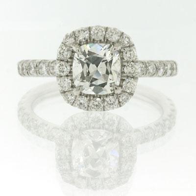 2.06ct Antique Cushion Brilliant Diamond Engagement
