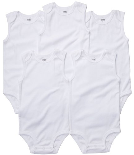 carters-unisex-5-pack-sleeveless-bodysuits-white-24-months
