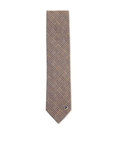 Versace Men's Plaid Silk Tie, Yellow