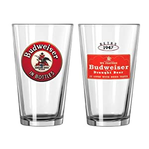 Boelter Brands Budweiser 2-Pack Retro 2 Glass Set, 16-Ounce