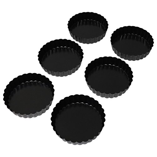 Evelots Set of 6 Non-Stick Round Fluted Quiche or Dessert Tart Pans, 5