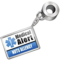 "Neonblond Bead/Charm Medical Alert Blue ""Nuts Allergy"" - Fits Pandora Bracelet by NEONBLOND Jewelry & Accessories"
