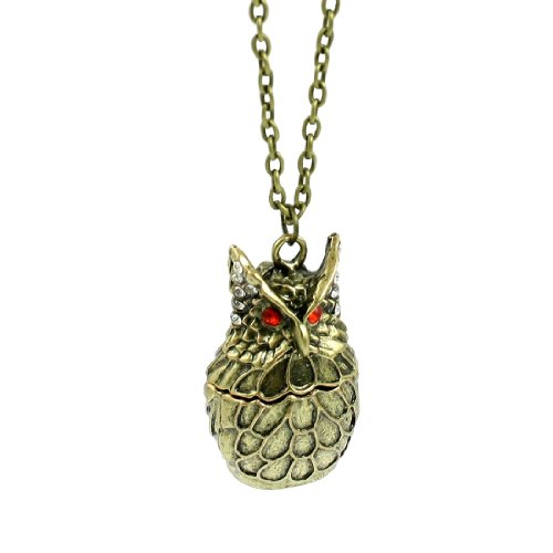 Rosallini Rhinestone Decor Bronze Tone Metal Owl Pendant Necklace for Ladies