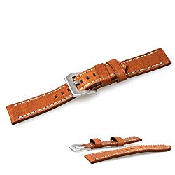 Dreamvasion 22mm Replacement Leather Strap Watchband for LG G Watch/Samsung Galaxy Gear 2/Pebble Time/Asus Zenwatch Smartwatch With Metal Clasp Connector (Brown)