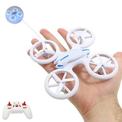 """Smart-Planet® hochwertige kleine mini Drohne / Drone mit auffälliger LED Beleuchtung (17,6 cm) / Quadrocopter sehr stabiler Flug --- """"inkl. 2,4 GHz / 2.4 GHz Funkfernbedienung - Komplettpaket - inkl. Akku - Ladegerät - 6 Achsen Gyro - 4 Kanal - Looping auf Knopfdruck etc. - LED"""