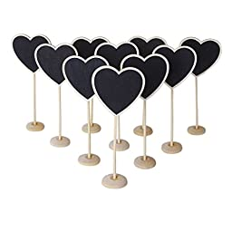 Tinksky Mini Chalkboard Wooden Message Blackboards with Base for PartiesReceptions Pack of 10