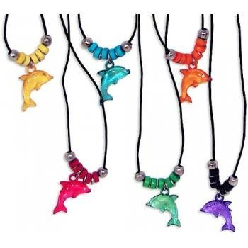 Fun Express Acrylic Dolphin Necklace with Jewel Eyes (1 Dozen)