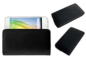 Acm Rich Leather Soft Case For Lava Iris 450 Colour Plus Mobile Handpouch Cover Carry Black