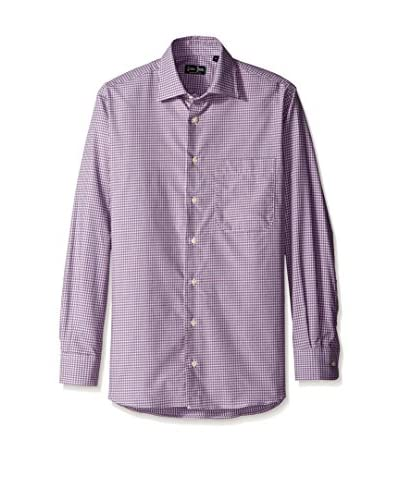 Gitman Blue Men's Mini-Check Spread Collar Sport Shirt